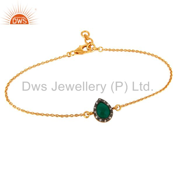 18K Yellow Gold Plated 925 Sterling Silver Green Onyx Gemstone Bracelet With CZ