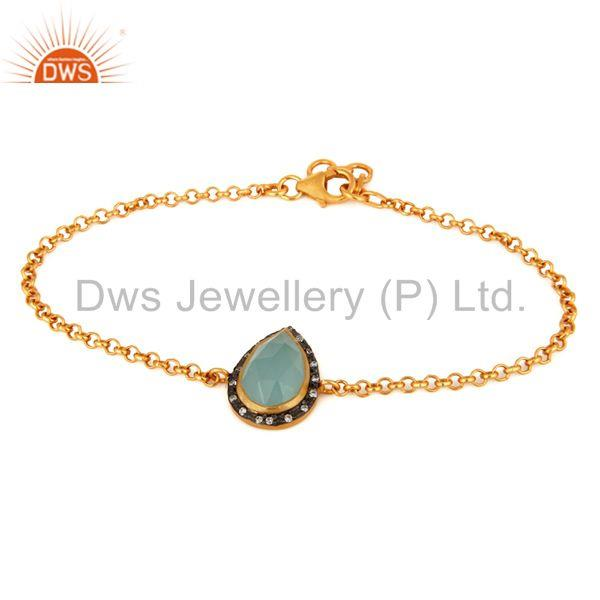 18k yellow gold plated sterling silver aqua glass gemstone bracelet with cz
