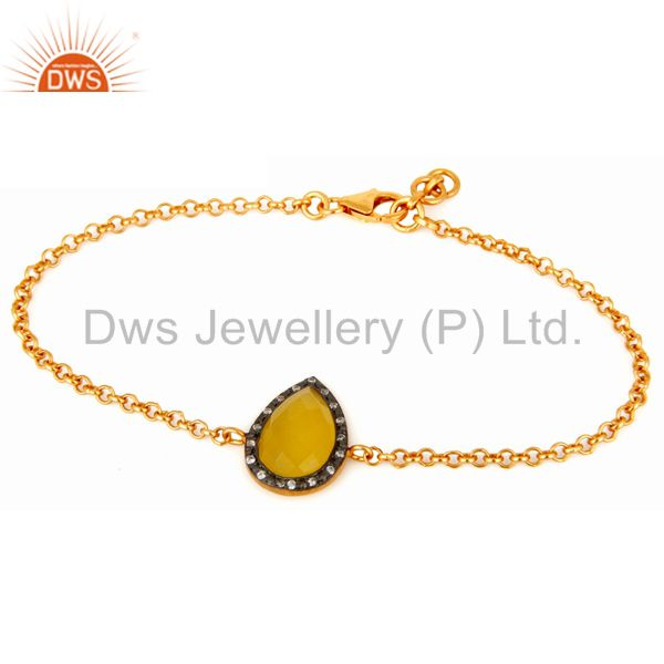 18K Gold Plated 925 Sterling Silver Chain Bracelet With Yellow Moonstone & CZ