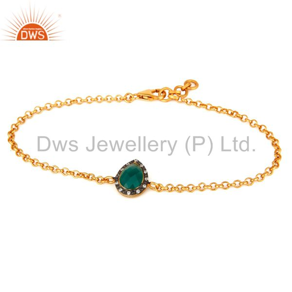 Gold Plated Sterling Silver CZ & Green Onyx Gemstone Designer Bracelet For Women