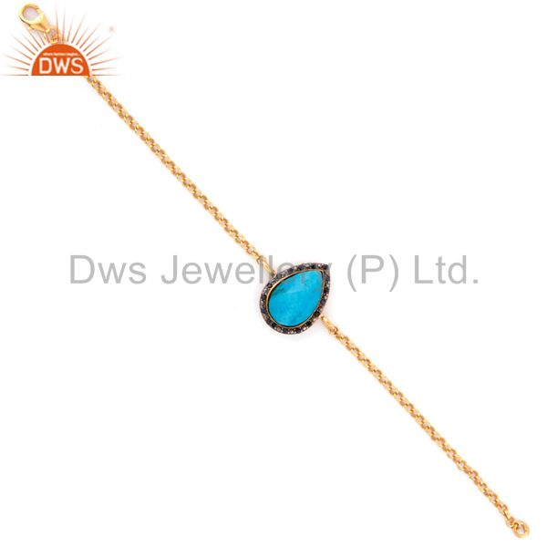 Gold Plated Sterling Silver Blue Sapphire & Turquoise Gemstone Chain Bracelets