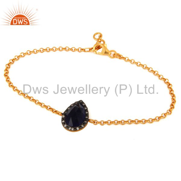 18K Gold Plated 925 Sterling Silver Lab Created Blue Sapphire Gemstone Bracelet