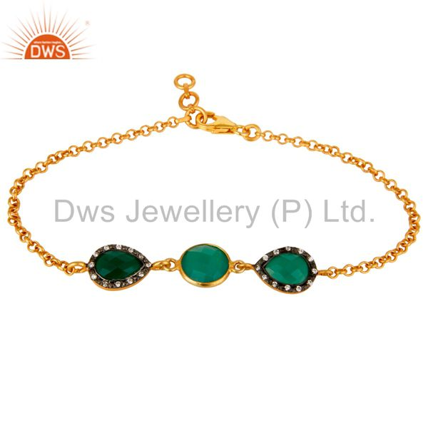 18k yellow gold plated sterling silver green onyx chain bracelet with cz
