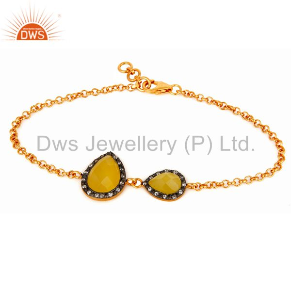 Yellow Moonstone & CZ Pave Gold Plated Sterling Silver Link Chain Women Bracelet