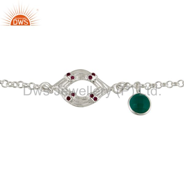 925 sterling silver ruby & green onyx gemstone charm chain bracelet