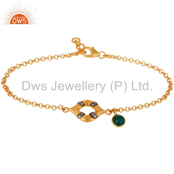 22K Gold Plated Sterling Silver Green Onyx & White Zirconia Chain Link Bracelet