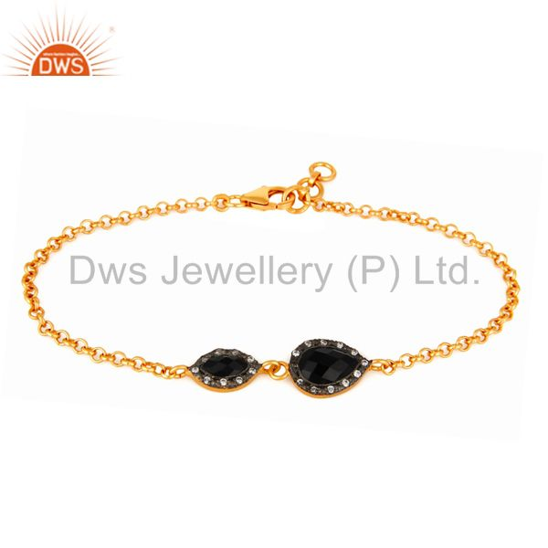 925 Sterling Silver With 18K Yellow Gold Plated Balck Onyx & CZ Womens Bracelet
