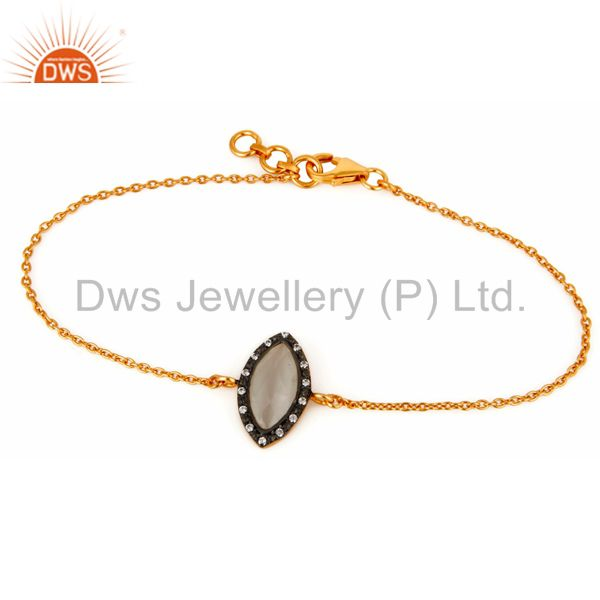 Moonstone & cz gold plated sterling silver chain bracelet with lobster locks
