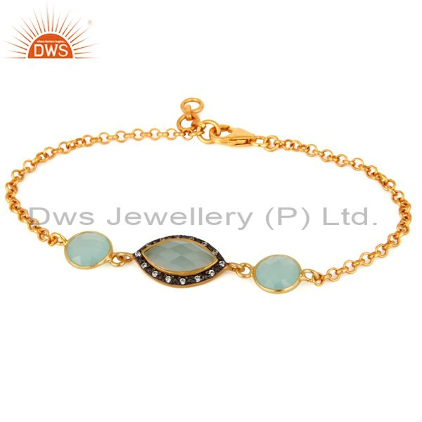 24K Gold Plated 925 Sterling Silver Blue Aqua Glass Gemstone Fashion Bracelet