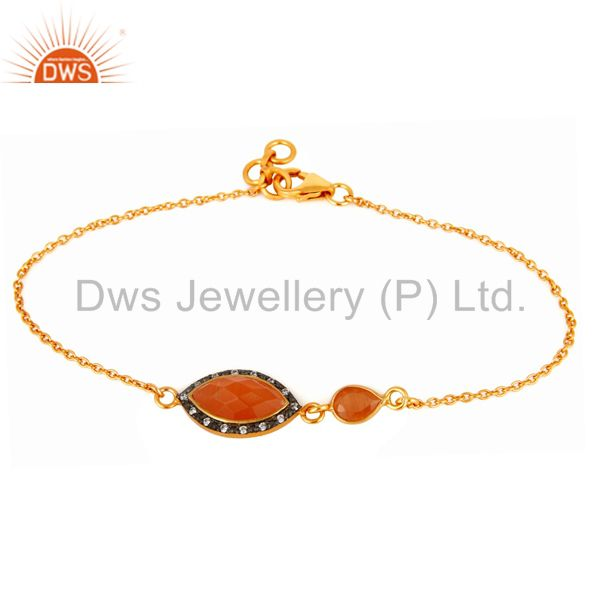 Peach Moonstone & CZ Sterling Silver Chain Link Bracelets With Gold Plated