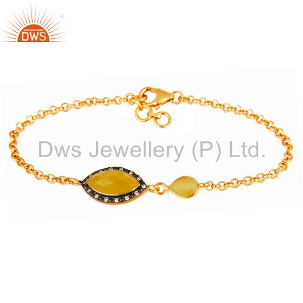 925 Sterling Silver Chain Link Gold Plated Moonstone Gemstone Fashion Bracelet