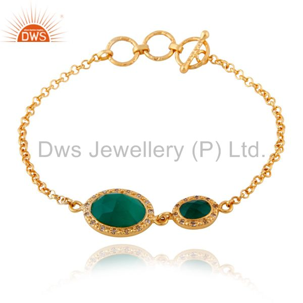 Green Onyx  925 Sterling Silver White Topaz 18K Yellow Gold Plated Chain Bracele