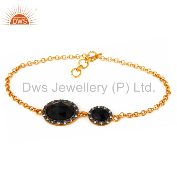 Black Onyx & Cubic Zirconia Gemstone 925 Sterling Silver Bracelet - Gold Plated