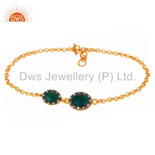Natural Green Onyx & CZ Sterling Silver Chain Link Bracelet With Gold Plated 18K