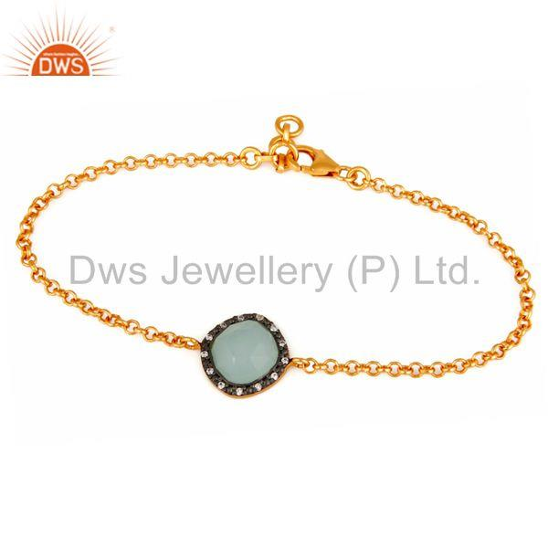 Synthetic Aqua Chalcedony Gemstone Gold Plated Sterling Silver Chain Bracelets