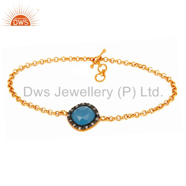 925 Sterling Silver Chain Blue Chalcedony Gold Plated Bracelet Adjustable - CZ