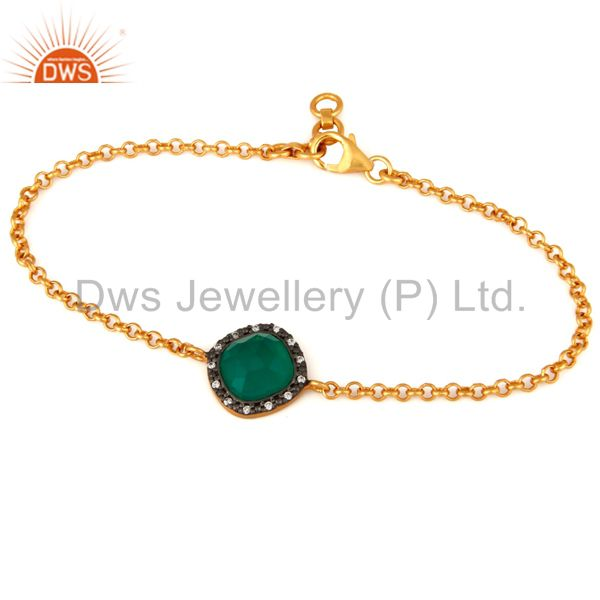 18K Gold Plated 925 Sterling Silver Green Onyx Gemstone Bracelet With CZ