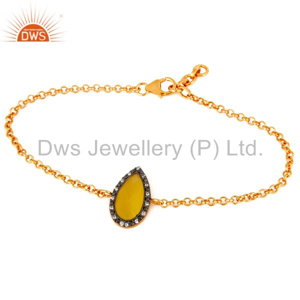 Yellow Moonstone Gemstone Faceted Sterling Silver With 18K Gold Plated Bracelet