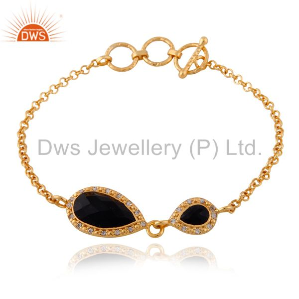 24k Gold Plated Black Onyx Gemstone Sterling SIlver White Topaz Chain Bracelets