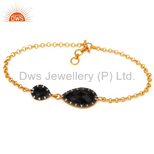 Natural Black Onyx Gemstone Bracelet Made In 24K Yellow Gold On Sterling Silver