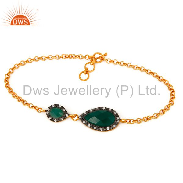 Faceted Green Onyx Gemstone & CZ Gold Plated Sterling Silver Beautiful Bracelet