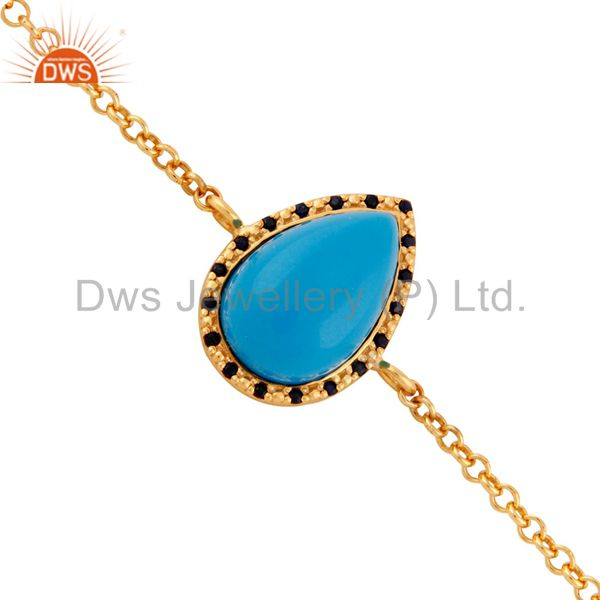 925 Sterling Silver Blue Sapphire & Turquoise Bracelets With Gold Plated