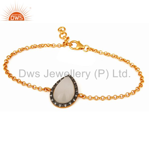 Moonstone & white zircon studded sterling silver gold plated bracelet for women
