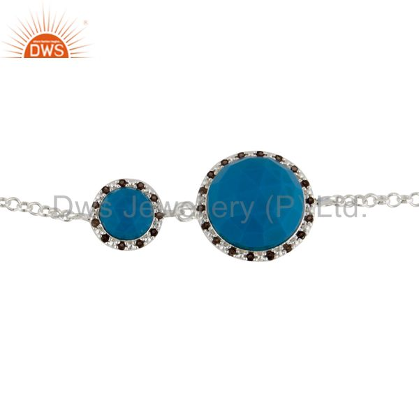 925 Sterling Silver Turquoise Gemstone Chain Bracelets With White Zircon