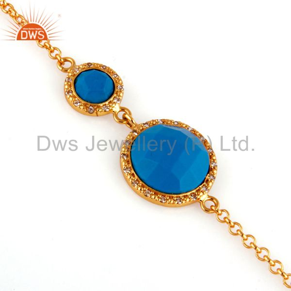 18k yellow gold plated sterling silver turquoise gemstone bracelets
