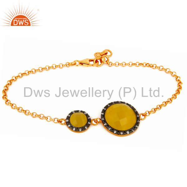 Yellow Moonstone And White Zircon Gold Plated Sterling Silver Chain Bracelet