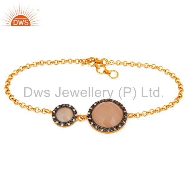 Rose chalcedony gemstone sterling silver with 22k gold plated bracelet with cz