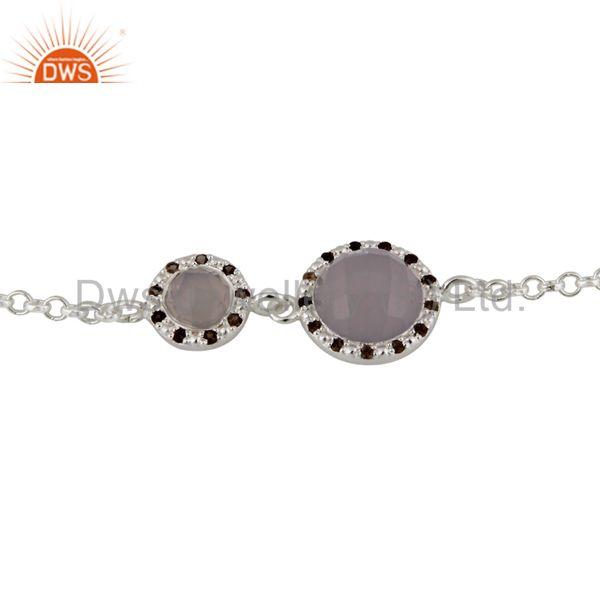925 Sterling Silver Natural Rose Chalcedony Bracelet with White Zircon