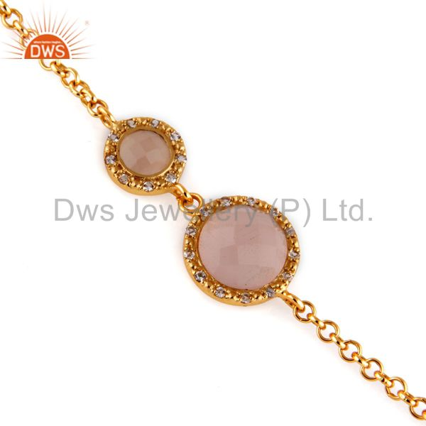 Natural rose chalcedony 18k gold over sterling silver bracelet with white zircon