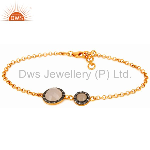 Cubic Zirconia & Chalcedony Sterling Silver With Gold Plated Designer Bracelets