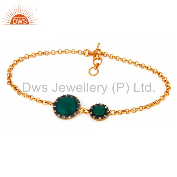 CZ & Green Onyx Gemstone Cable Link Sterling Silver Gold Plated Chain Bracelet