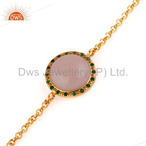 Sterling silver chalcedony & emerald gemstone chain link bracelets with gold ver
