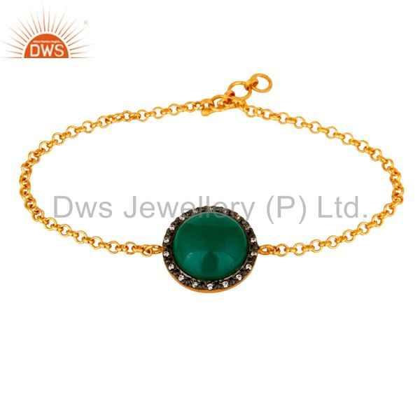 18K Gold Plated Sterling Silver Green Onyx Womens Chain Bracelet