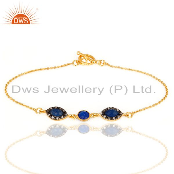 Blue Aventurine And CZ 14-Karat Yellow Gold Plated Over Brass Fashion Bracelet