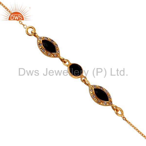 Faceted Black Onyx Sterling Silver Bracelet With White Topaz - Gold Plated