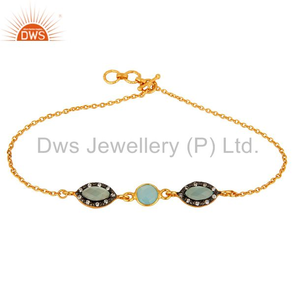 18K Yellow Gold Plated Sterling Silver Aqua Blue Chalcedony Link Chain Bracelet