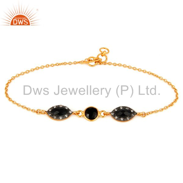 18ct Gold Plated Plated Over Sterling Silver Black Onyx Chain Bracelet With CZ