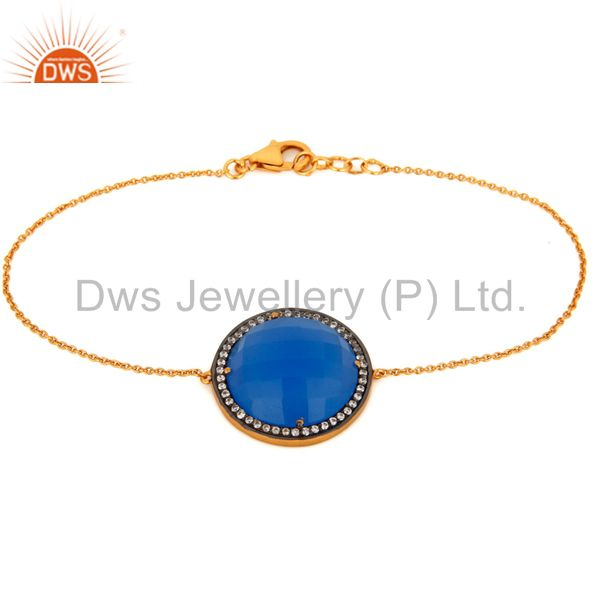 Gold Plated Sterling Silver Blue Chalcedony Beautiful Designer Chain Bracelet
