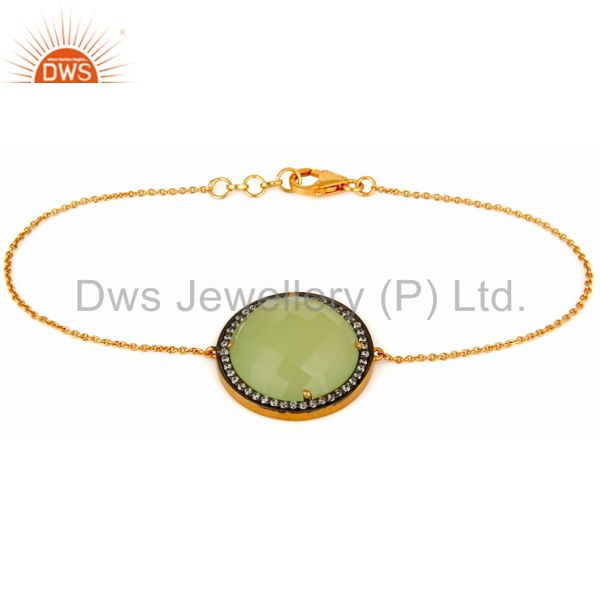 Green Chalcedony Prehnite 925 Sterling Silver With Gold Plated Chain Bracelet