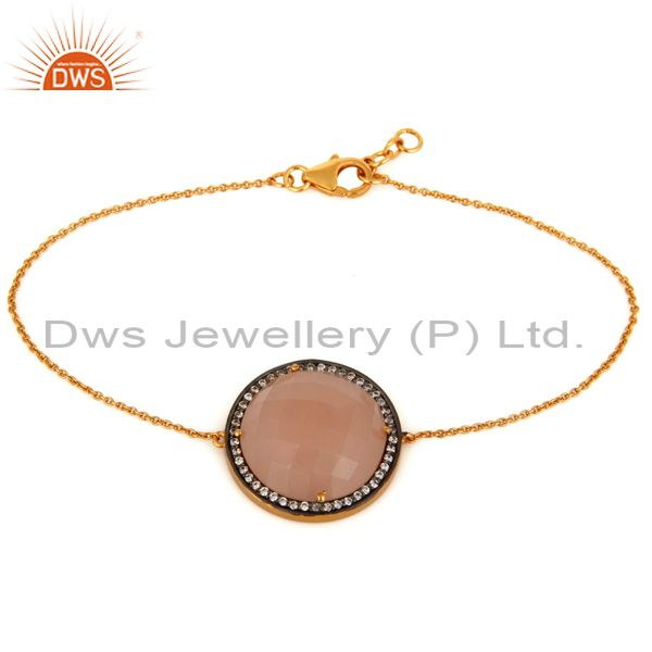 Rose Chalcedony & White Zircon Sterling Silver With Gold Plating