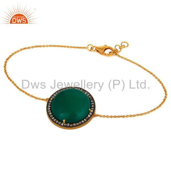 Green Onyx & White Zircon Sterling Silver With Gold Plating