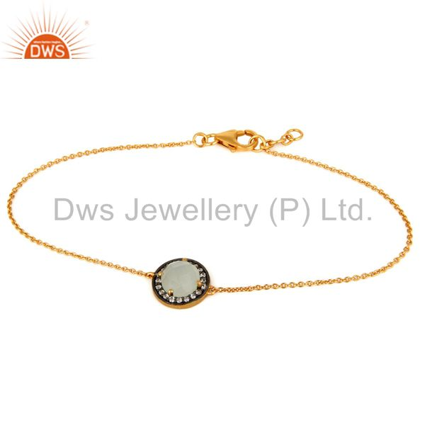 Blue Chalcedony Gemstone 18K Gold Plated Sterling Silver Chain Bracelet With CZ
