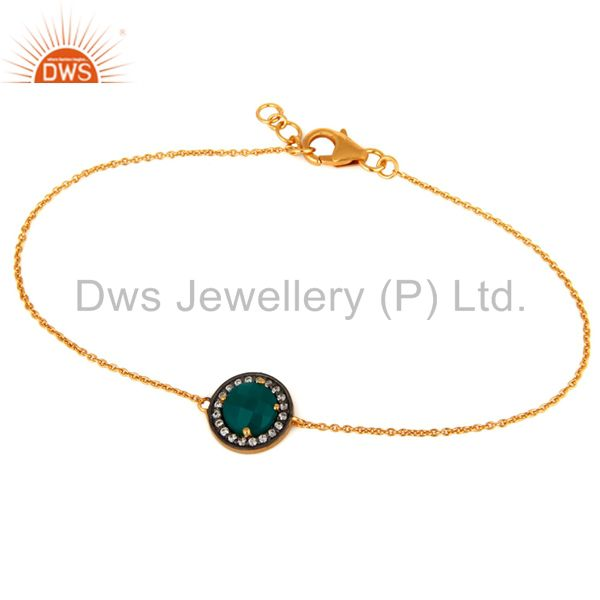 18K Yellow Gold Plated Green Onyx Gemstone & CZ Sterling Silver Chain Bracelet