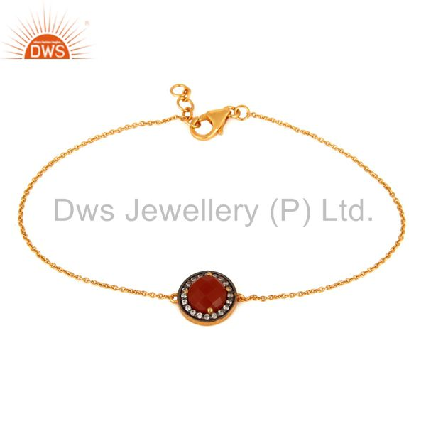 18K Gold Plated Sterling Silver Red Onyx And White Zircon Adjustable Bracelet