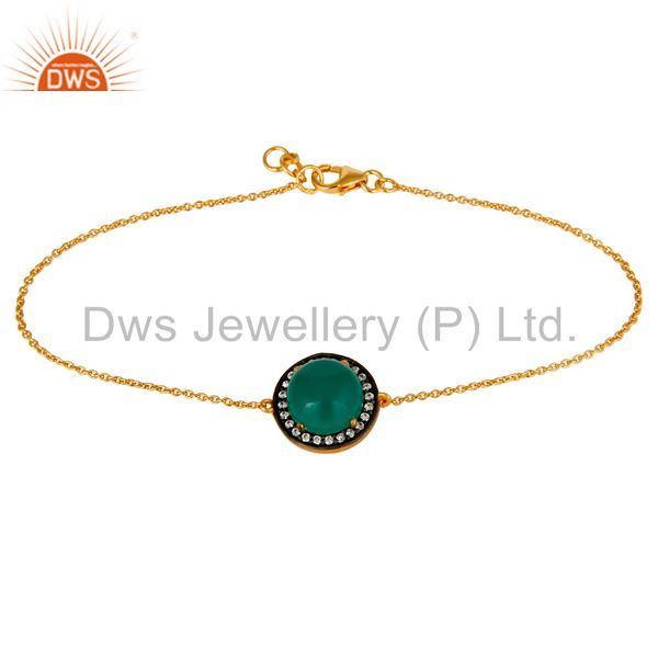 18K Gold Plated Sterling Silver Green Onyx And White Zircon Adjustable Bracelet