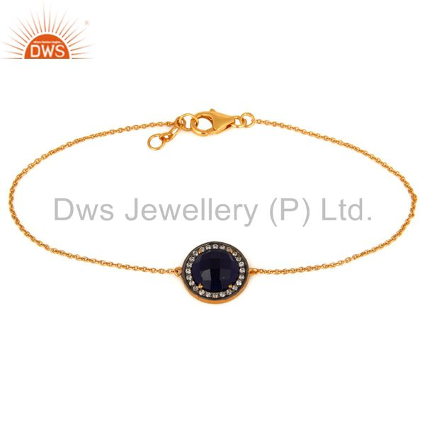 Blue Corundum Gemstone 14K Gold Plated Sterling Silver Womens Bracelet With CZ